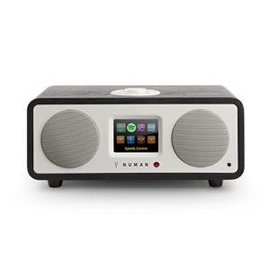 NUMAN One 2.1 – Radio Internet , Tuner Dab/Dab+/FM , Spotify Connect , écran TFT , RDS , Wi-FI/réseau , Bluetooth , AUX , 2 Enceintes , subwoofer , 2 égaliseurs , RMS 20 W , Noir