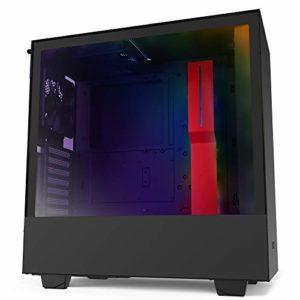 NZXT H510i – Boîtier PC Gaming ATX Moyenne Tour Compact – Port I/O USB Type-C en Façade – Montage Vertical du Processeur Graphique ( GPU ) – Panneau Latéral en Verre Trempé – Noir/Rouge