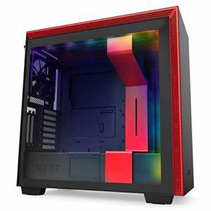 NZXT H710i – Boîtier PC Gaming Moyenne Tour ATX – Port I/O USB Type-C en Façade – Panneau Latéral à Dégagement Rapide – Montage Vertical du Processeur Graphique ( GPU ) – Noir/Rouge