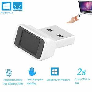 ONEVER Lecteur d'empreintes digitales USB Smart pour Windows 10 32/64 bits – Module de clé de sécurité biométrique à lecteur d'empreintes digitales pour capteur tactile pour accès tactile instantané