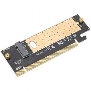 Oumij Adaptateur de Carte de Montage,Touche M.2 vers PCIE3.0 x16, Carte D'Interface SSD avec Radiateur pour Windows/Linux/Mac