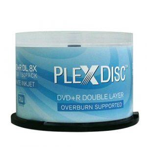 PlexDisc DVD+R DL, 50 Discs, 8X, 8,7GB, Double-Layer, Inkjet, Blanc