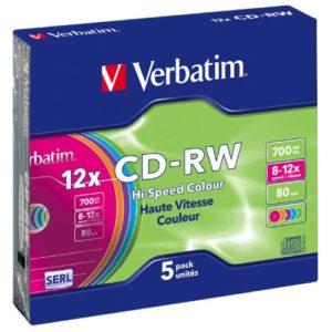 Privé: Verbatim CD-RW DataLifePlus 8-10X 700MB Colour,5 Pack, 43167 (Colour,5 Pack)