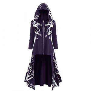 Robe Vintage pour Femme avec Capuche Gothique, Sweat-Shirt avec Capuche, Robe de fête Longue, Cape Vintage médiévale Vintage Fleur de Racine d'arbre – Noir – XXXX-Large