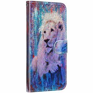 Saceebe Compatible avec iPhone 5S / iPhone SE Etui Coque Cuir Portefeuille Paillette Brillante Bling Glitter 3D Motif Dessin Housse Clapet Antichoc Pochette Housse Support Wallet Coque,Lion