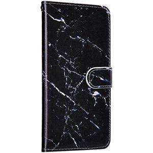 Saceebe Compatible avec Samsung Galaxy A10 Housse Portefeuille Cuir Coque 3D Marbre Motif Coque Support Stand Clapet Antichoc Etui Housse de Protection à Rabat Porte-Cartes,Noir