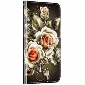 Saceebe Compatible avec Samsung Galaxy A50 Coque Cuir Étui Wallet Housse 3D Imprimé Animaux Motif Portefeuille Coque avec Support Magnétique Pochette Antichoc Rabat Coque,Fleur Rose