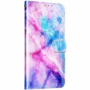 Saceebe Compatible avec Samsung Galaxy A8 2018 Coque Cuir Étui Wallet Housse 3D Marbre Motif Pochette Portefeuille Housse Flip Cover Stand Vintage Antichoc Coque Carte Fente,Rose Bleu