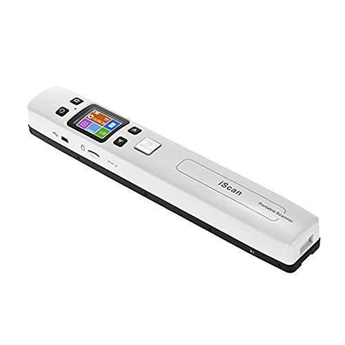 Scanners Portable Document, pour Photo,reçus,rechargeable,OCR reconnaissance,double rouleau et zéro marge conception,numérisation haute vitesse A4 Taille 1050DPI JPEG / PDF, écran LCD couleur,Blanc