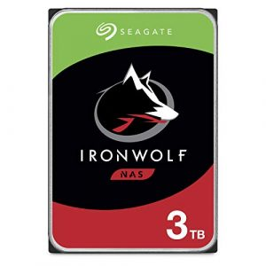 Seagate IronWolf 3 To, Disque dur interne NAS HDD – 3,5 pouces SATA 6 Gbit/s 7 200 tr/min, 256 Mo de mémoire cache, pour stockage en réseau NAS RAID – Ouverture Facile (ST3000VNZ07)