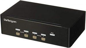 StarTech.com Switch KVM USB double VGA à 4 ports – Commutateur écran clavier souris avec hub USB 2.0 à 2 ports et audio (SV431DVGAU2A)
