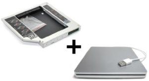 TheNatural2020 HDD/SSD Adaptateur pour Apple iMac 17″ 20″ 24″ (2006 – Early 2008) & Mac Mini (2006-2007) remplace SuperDrive + boîtier USB pour SuperDrive 12.7 mm (SATA – PATA/IDE)