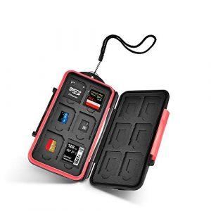 UTEBIT 12 Fentes Étuis pour Cartes Mémoire Imperméable Antimagnétique Boîte Rangement de Cartes Mémoire Anti-poussière et Antichoc Case Micro SD Noir+Rouge pour 12 SD Cartes et 12 Micro SD Cartes(TF)