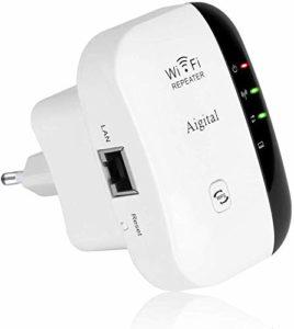 WiFi Répéteur 300Mbps Wireless Mini Repeater sans Fil Adaptateur Amplificateur de Signal Wireless Répétiteur 2.4GHz Antennes Intégrées Norme IEEE 802.11 b/g/n Interface LAN Protection WPS