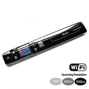 WiFi Scanner portable, A4 Taille JPEG / PDF Format 1050DPI d'affichage LCD coloré, rechargeable, avec protection étui transport, 8,27″ Largeur numérisation pour les entreprises reciepts Livres,Noir