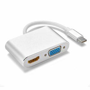 ZTT Type-C HDMI/VGA Double Interface, Deux-en-Un Support Double Boucle simultanée Sortie HD Converter Support 4K No Flash Screen No Hot