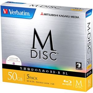 1000 Ans d'archivage Verbatim M-Disc Blu-Ray BD-R DL 50 Go Double Couche 6 x Speed – Lot de 5 Ink-Jet Printable