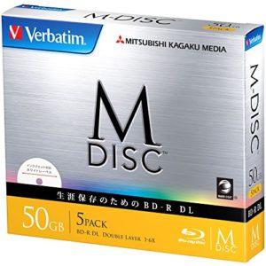 1000Ans d'archivage Verbatim M-Disc Blu-Ray BD-R DL 50Go Double Couche 6x Speed–Lot de 5Ink-Jet Printable