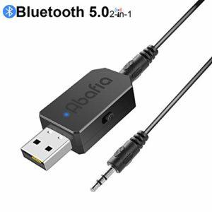 Abafia Adaptateur Bluetooth Jack, 2 en 1 Bluetooth Récepteur et Lanceur V5.0, USB Bluetooth Adapter avec Câble Audio Numérique 3,5 mm pour/TV/PC/Autoradio/Casque