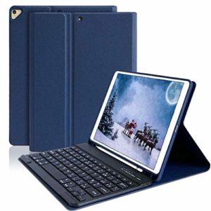 Clavier Coque pour iPad 10.2 2019/iPad 10.5,Détachable Clavier Bluetooth sans Fil pour iPad 10.2 Pouces 7ème Génération,iPad Pro 10.5″ 2017/2019 air,Housse avec Pen Holder,AZERTY français(Bleu foncé)