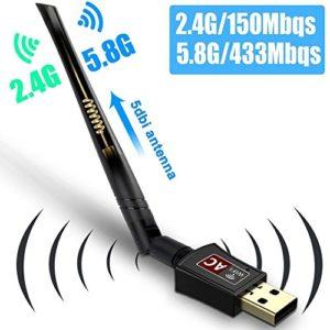 Clé WiFi AC600 Dual Bande sans fil 2.4G/150Mbps+5G/433Mbps USB 2.0 Antenne