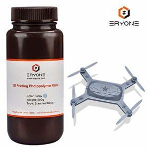 ERYONE 405nm UV Resin FIlament ,Resin Filament Grey for DLP LCD 3D Printer ,0.5KG/500ML / Bottle(Grey)