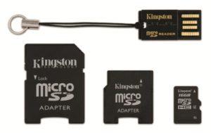 Kingston Mobility Kit Carte Micro SDHC + adaptateurs SD et Mini SD 16 Go Noir