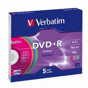 Privé: DVD+R 16X 4.7GB X5 COLOR SUPLCOLOR SLIM CASE 5PK