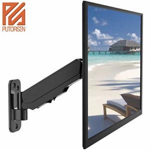 PUTORSEN® Support Mural de Moniteur pour écran TV LCD LED 43-81 cm /17″-32″ Ressort à gaz 360° Rotatif réglage Complet