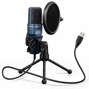 TONOR Microphone à Condensateur USB pour PC Micro avec Trépied et Filtre Anti-Pop pour Enregistrement Vocal, Enregistrement Musical Basique, Podcasting, Streaming pour iMac Windows Laptop