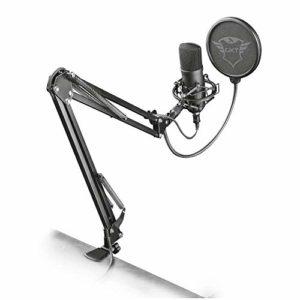 Trust Gaming GXT 252+ Emita Plus Micro Studio USB, Microphone Professionnel Gamer avec Bras Articulé pour PC, Ordinateur, Chant, Streaming, Podcast- Noir/Gris