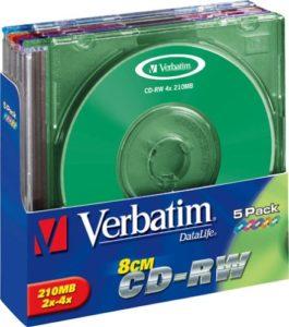Verbatim Colours CD-RW (8cm) x 5 210 Mo