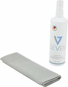 V7 Cleaning Set 2 Pièces pour écrans: Nettoyant 250ml + chiffon en microfibres, adapté à tous les écrans: moniteur, ordinateur portable, tablette PC, TV, Apple iPad, iPod, iPhone, iMac, smartphones, téléphones, projecteurs, écrans, écrans, TV