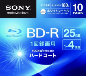 SONY BD-R recording for videos, One side 1 layer 25GB 4 X White printable 10sheet pack 【Japan import】