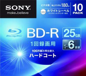 Sony Blu-ray Disc | BD-R 25GB 6x – Ink-jet Printable 10 Pack | 10BNR1VGPS6 (japan import)