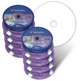 Verbatim DVD Double Couche DVD+R DL 8.5 Go / 240 min 8x, Full printable White No ID, 200 pièces en cloche de 25