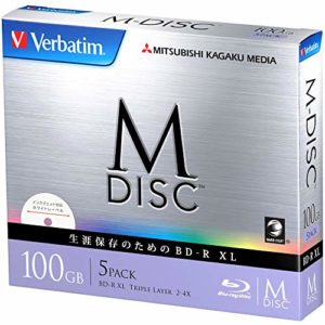 1000Ans d'archivage Verbatim Blu-Ray BDXL M-Disc 100Go Triple Couche 4x Speed–Lot DE 5Ink-Jet Printable