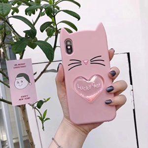 Bling Case pour iPhone X 3D Couverture, SevenPanda Quicksand Cartoon Silicone en mouvement Lucky Cat Star Mignon Adorable 3D Barbe Cat Conception Cas Drôle Antichoc et Protecteur Couverture Souple pour iPhone 10 5.8 Pouces – Rose