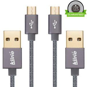 Câble Micro USB, Câbles de recharge durables Kiirie (2×3.3ft / 1M) avec Nylon Braided et 6000+ Bend Lifespan pour Android / Samsung / Windows / MP3 / Appareil photo et autres périphériques (gris)