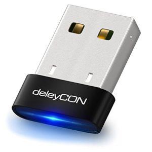 deleyCON Adaptateur Bluetooth USB–Technologie Bluetooth 4.0–Plug & Play–EDR Mode jusqu'à 3Mbit/s–Compatible Windows 10–Portée jusqu'à 10m–noir