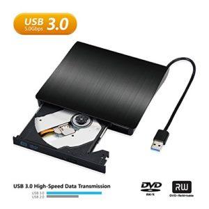 Lecteur CD DVD Graveur Externe, Moglor USB 3.0 Ultra Slim Portable Graveur de CD-RW DVD-RW pour Notebook / Desktops Windows 2003/Vista/XP/7/8.1/10/Linux /Mac OS