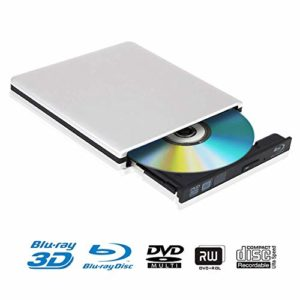Lecteur DVD Blu Ray 4K 3D Externe Portable Ultra Slim USB 3.0 Graveur de CD-RW DVD-RW pour Mac OS, Linux, PC Windows XP/Vista / 7/8/10 Argent
