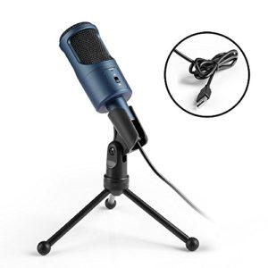 MAD GIGA Microphone USB, Microphone à Condensateur avec Trépied , Microphone à Pied USB, Microphone Enrengistrement Voix pour PC, Haut-parleurs, Portable, Compatible avec Windows et Mac