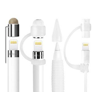 MEKO [5-pièces] Apple iPad Pencil Crayon Accessoires Cap Case + 2-en-1 Cap Fibre Comme Stylet + Nib Couverture + Adaptateur Tether + Soft Protecteur en Silicone pour iPad Pro Pencil