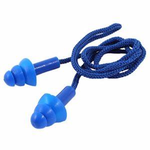 mi ji 5 Pièces 24dB Sécurité Corded Souple Jelli Bouchons d'oreilles Protection auditive Muffs – Bleu