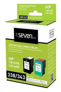 Seven Life compatible HP338/HP343 xl Pack de 2 cartouches