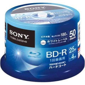 SONY vidéo pour les BD-R 1 fois pour enregistrer une seule couche simple face de 25 Go à 4 vitesses Blanc imprimable 50 feuilles 50BNR1VGPP4 broche