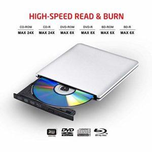 VicTsing Lecteur/Graveur Blu-ray USB 3.0 Externe Portable Graveur Drive BD/DVD/CD, ODD/HDD Externe pour Apple MacBook, MacBook Pro, MacBook Air ou d'autres Ordinateurs de Bureau/Portables avec Port USB — Argent